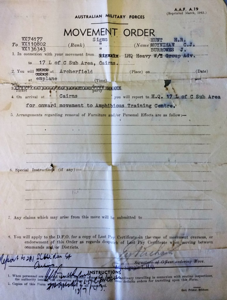 AMF Movement Order 18 Jul 1943 p.1.
