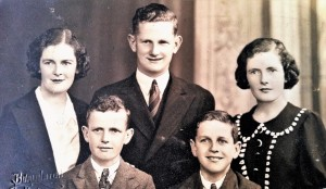 Back row, left to right: Pat, Bob & Helen; front row; me and twin brother Tom. c. 1935