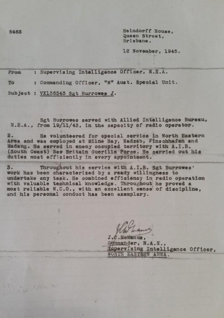 James Burrowes Coastwatcher commendation 12 Nov 1945