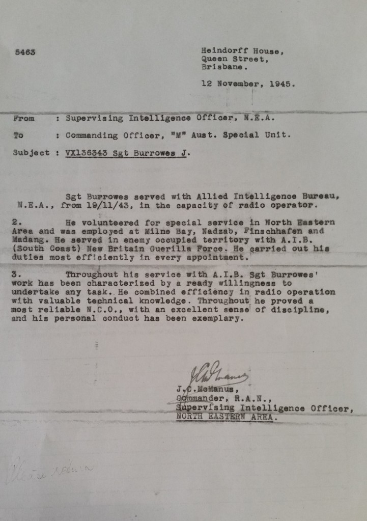James Burrowes Coastwatcher commendation 12 Nov 1945