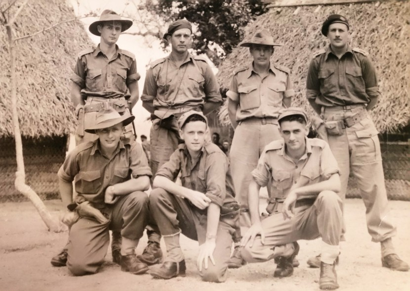 At Tol: Back row, l-r: Lieut. Jack Ranken MM, Capt. Malcolm English, Lieut. 'Mac' Hamilton, Sgt. Rob McKay. Front row, l-r: Sgt. Keith King, Sgt. Jim Burrowes (Signaller), Sgt. Les 'Tas' Baillie (Signaller)