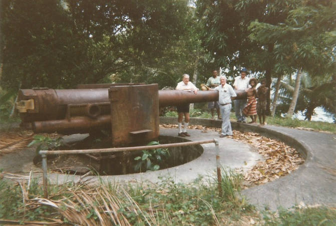One of the two guns at Praed Point 'guarding' the entrance to Simpson Harbour. Photo taken post-war.