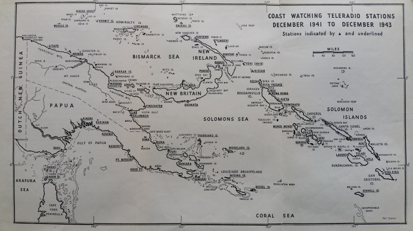 Map of Coast Watching teleradio stations. Source: Eric Feldt 'The Coast Watchers' pp.38-39.