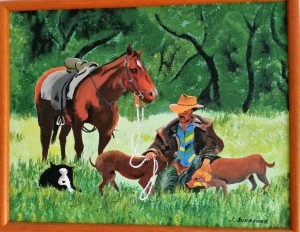 Painting: Drover with horse and dogs