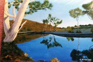 Painting: Water in the 'wide brown land'