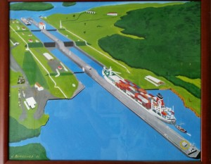 Painting: Ship passing through the Panama Canal