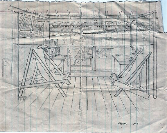 My pencil sketch of inside my radio hut in Madang, 1944.